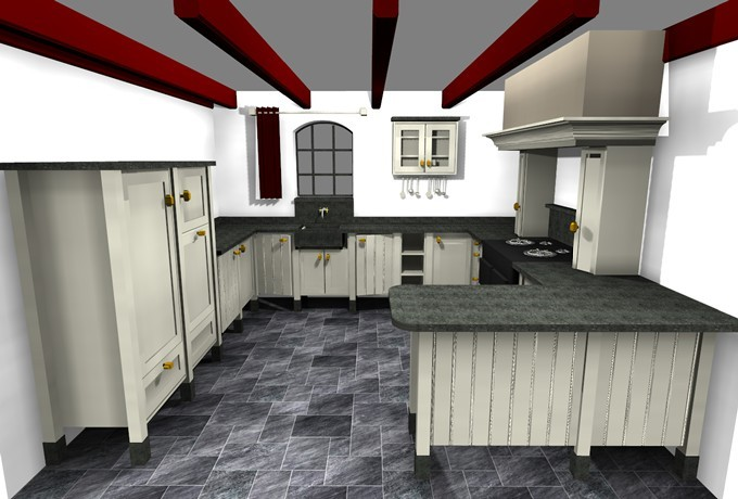 Landelijke keuken in woonboerderij steen interieurbouw - Center meubilair keuken ...